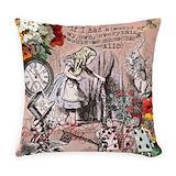 Alice in wonderland Burlap Pillows