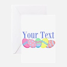 Personalizable Easter Eggs Blue Greeting Cards