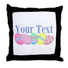 Personalizable Easter Eggs Blue Throw Pillow
