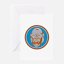 Angry Gorilla Head Circle Cartoon Greeting Cards