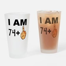 Middle Finger 75th Birthday Drinking Glass