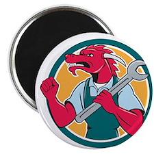 Red Dragon Mechanic Spanner Fist Pump Circle Magne