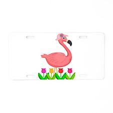 Girl Flamingo and Tulips Aluminum License Plate