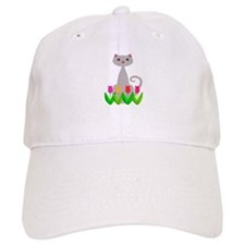 Gray Cat in Spring Tulip Flowers Baseball Baseball Cap