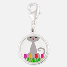 Gray Cat in Spring Tulip Flowers Charms