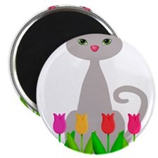 Gray Cat in Spring Tulip Flowers Magnets