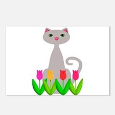 Gray Cat in Spring Tulip Flowers Postcards (Packag