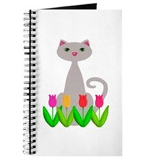 Gray Cat in Spring Tulip Flowers Journal
