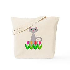 Gray Cat in Spring Tulip Flowers Tote Bag