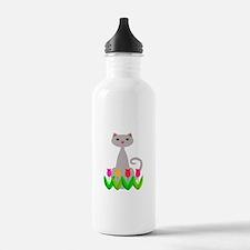 Gray Cat in Spring Tulip Flowers Water Bottle