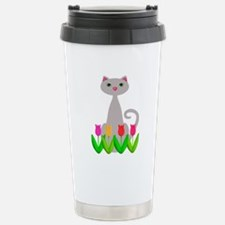 Gray Cat in Spring Tulip Flowers Travel Mug