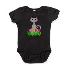 Gray Cat in Spring Tulip Flowers Baby Bodysuit