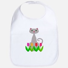 Gray Cat in Spring Tulip Flowers Bib