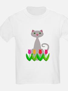 Gray Cat in Spring Tulip Flowers T-Shirt