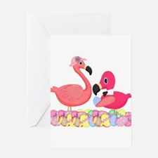 Easter Pink Flamingos Greeting Cards