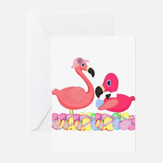 Easter Pink Flamingos Greeting Cards