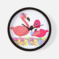 Easter Pink Flamingos Wall Clock