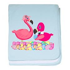 Easter Pink Flamingos baby blanket