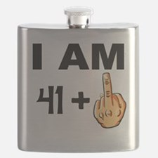 Middle Finger 42nd Birthday Flask