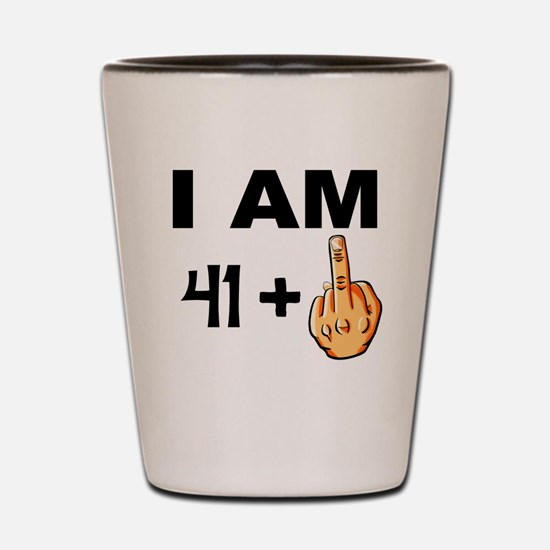 Middle Finger 42nd Birthday Shot Glass