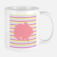 Pink Easter Bunny on Stripes Mugs