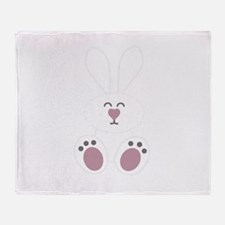 Cute White Bunny Rabbit Throw Blanket