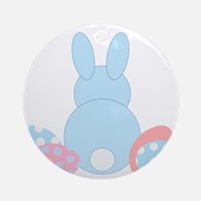 Blue Bunny Easter Eggs Ornament (Round)