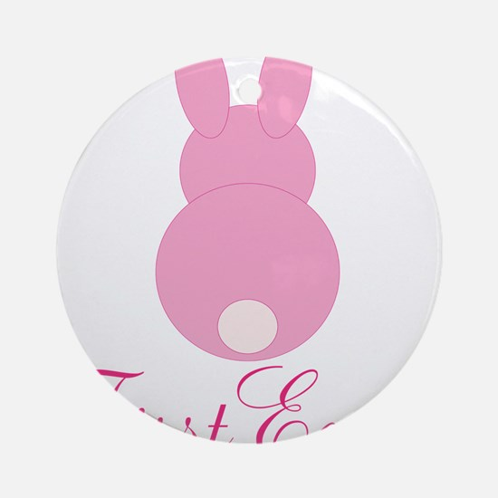 First Easter Pink Bunny Ornament (Round)