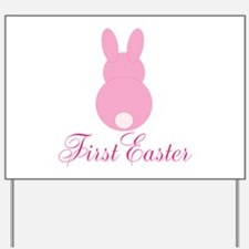 First Easter Pink Bunny Yard Sign