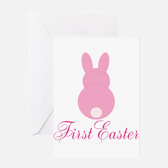 First Easter Pink Bunny Greeting Cards