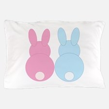 Pink and Blue Bunny Rabbits Pillow Case