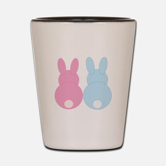 Pink and Blue Bunny Rabbits Shot Glass