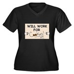 WILL WORK FOR COOKIES Women's Plus Size V-Neck Dar