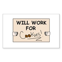 WILL WORK FOR COOKIES Rectangle Decal