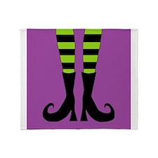 Halloween Witch Feet Throw Blanket