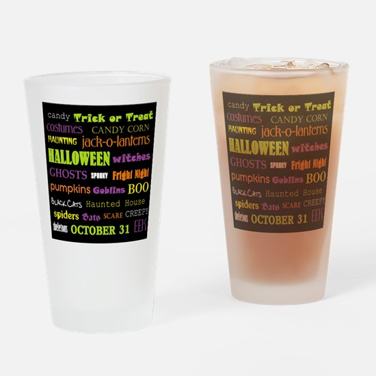 Halloween Subway Art Drinking Glass