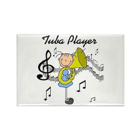 Tuba Player Rectangle Magnet