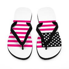 pink american flag Flip Flops