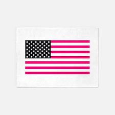 pink american flag 5'x7'Area Rug