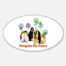 Peace Penguins Oval Decal