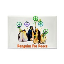 Peace Penguins Rectangle Magnet