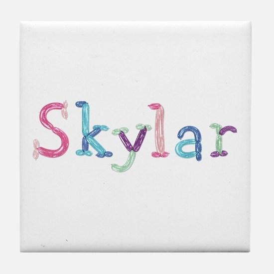 Skylar Princess Balloons Tile Coaster
