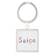 Saige Princess Balloons Square Keychain