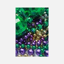 Mardi Gras Party Beads Rectangle Kitchen Magnets