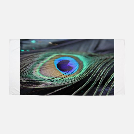 Peacock Feather Bright Beach Towel