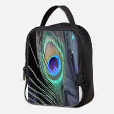 Peacock Feather Bright Neoprene Lunch Bag