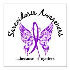"Sarcoidosis Butterfly 6. Square Car Magnet 3"" x 3"""
