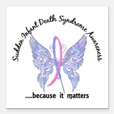 """SIDS Butterfly 6.1 Square Car Magnet 3"""" x 3"""""""