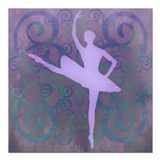 "Purple Ballerina Square Car Magnet 3"" x 3"""