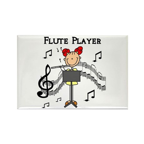 Flute Player Rectangle Magnet (100 pack)